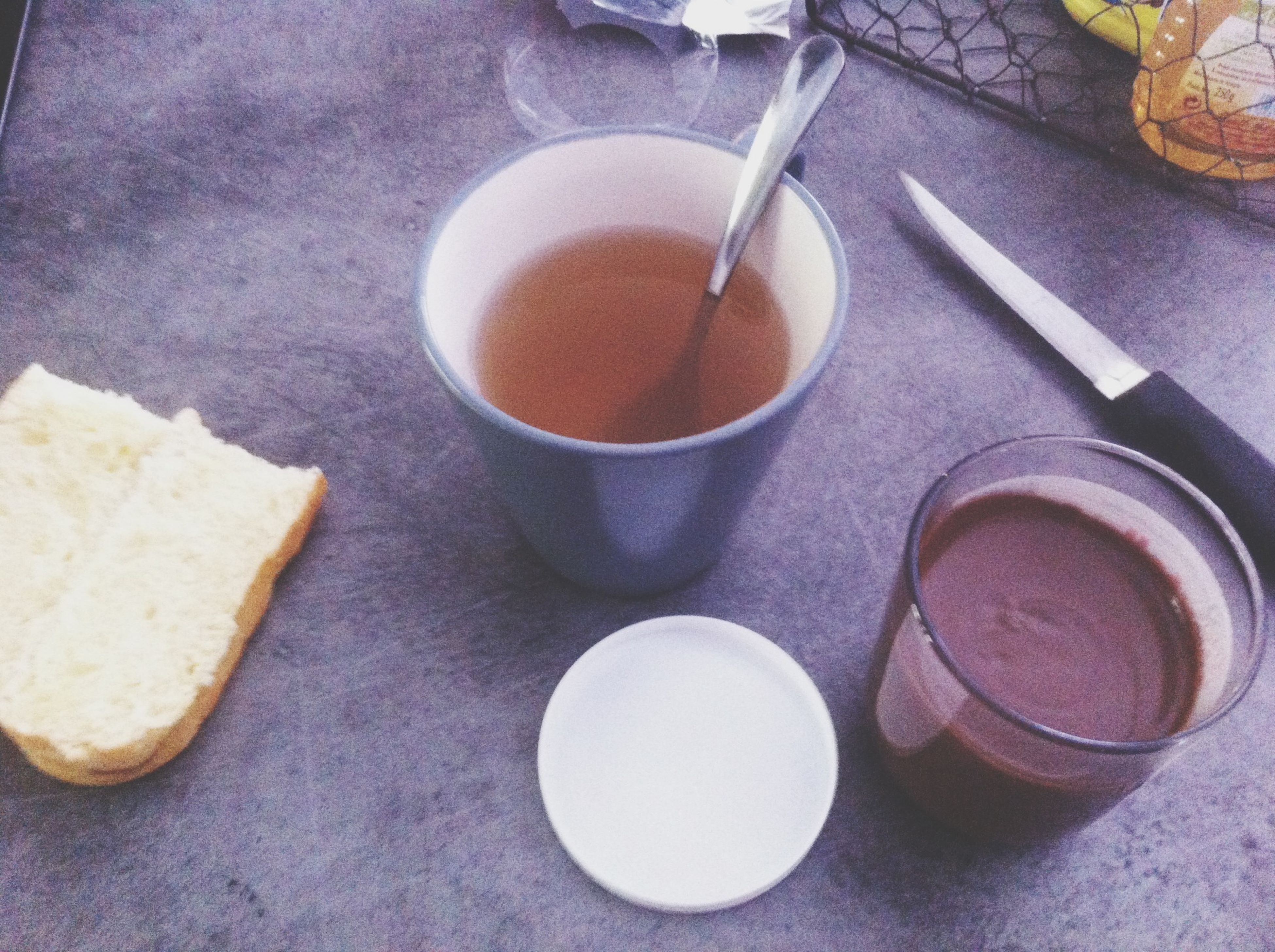 food and drink, table, still life, indoors, freshness, high angle view, food, drink, coffee cup, refreshment, coffee - drink, spoon, healthy eating, close-up, directly above, fork, breakfast, no people, plate, cup
