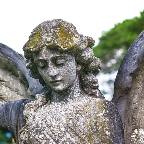 Statue Angel Statue Angel Sky Trees And Sky Head Stone Outdoors Sculpture Beauty Life Solum Guardian Angel