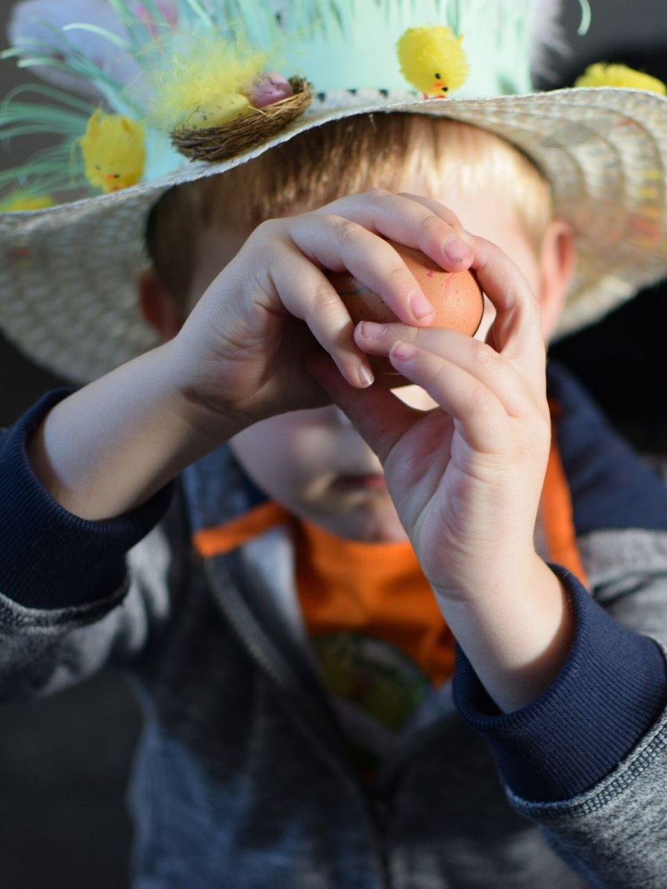 Human Hand One Person Human Body Part Holding People High Angle View Child Kid Egg Easter Hat Bunnet Spring Chick Childhood Celebration Fun Craft Boiled Hands