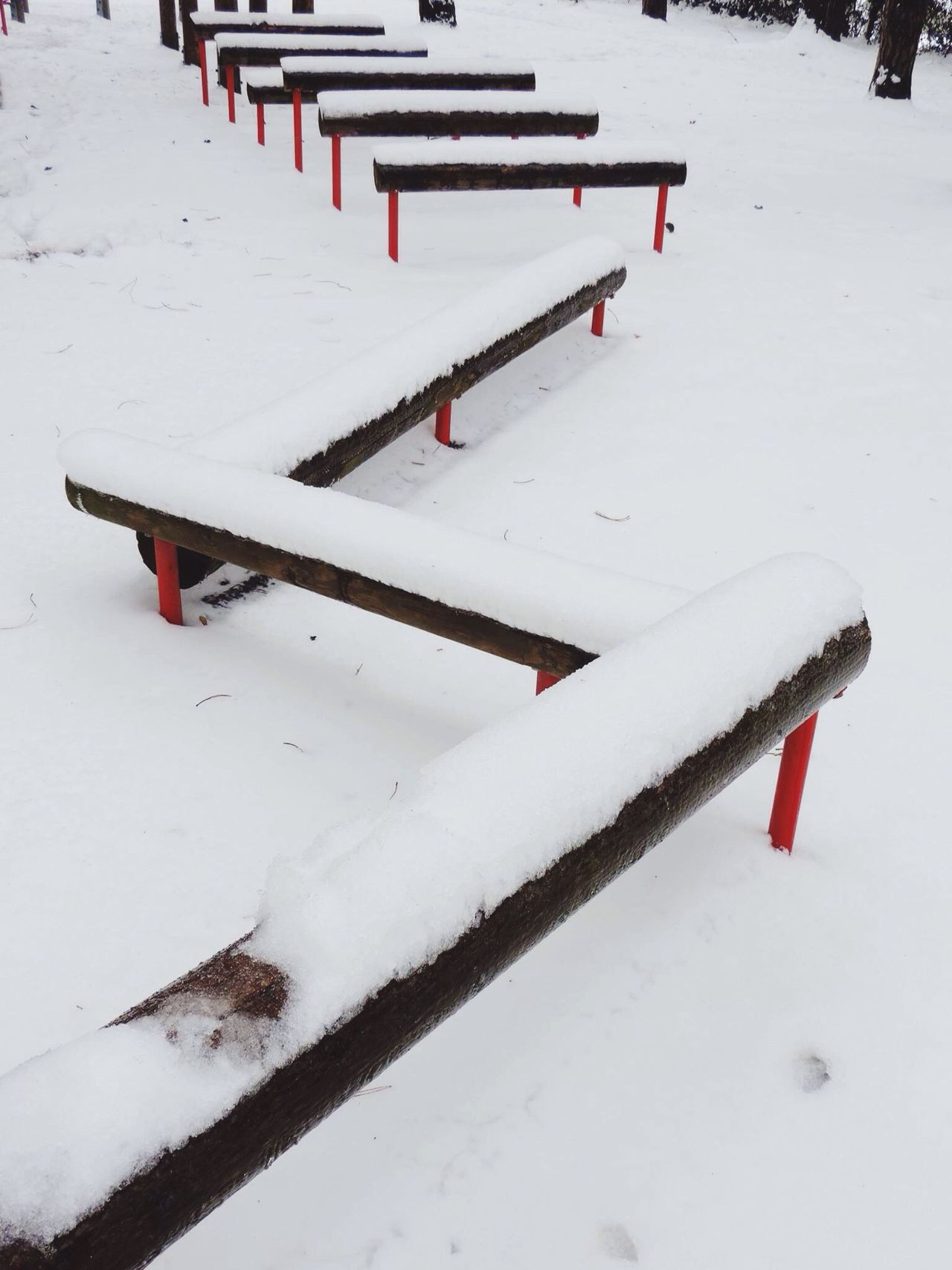It's Cold Outside Showcase : January Pattern, Texture, Shape And Form Snow Views Sports Park Patterns Patterns Nature_collection Wooden Hurdles Sports Photography Another View Outdoor Gym Outdoor Photography
