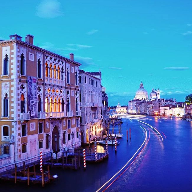 Venice by night. View from Ponte dell'Accademia.