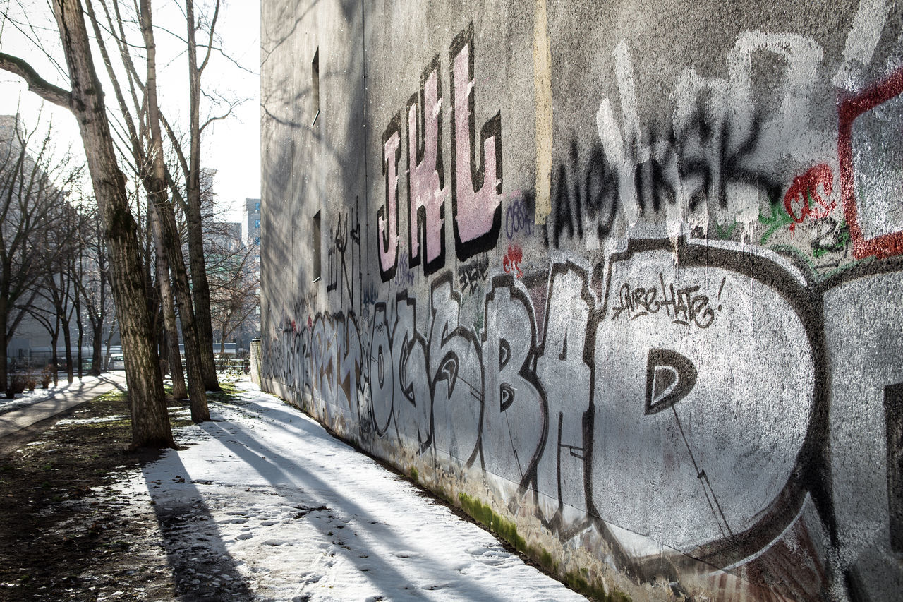 graffiti, text, communication, street art, built structure, day, outdoors, architecture, no people, building exterior, bare tree