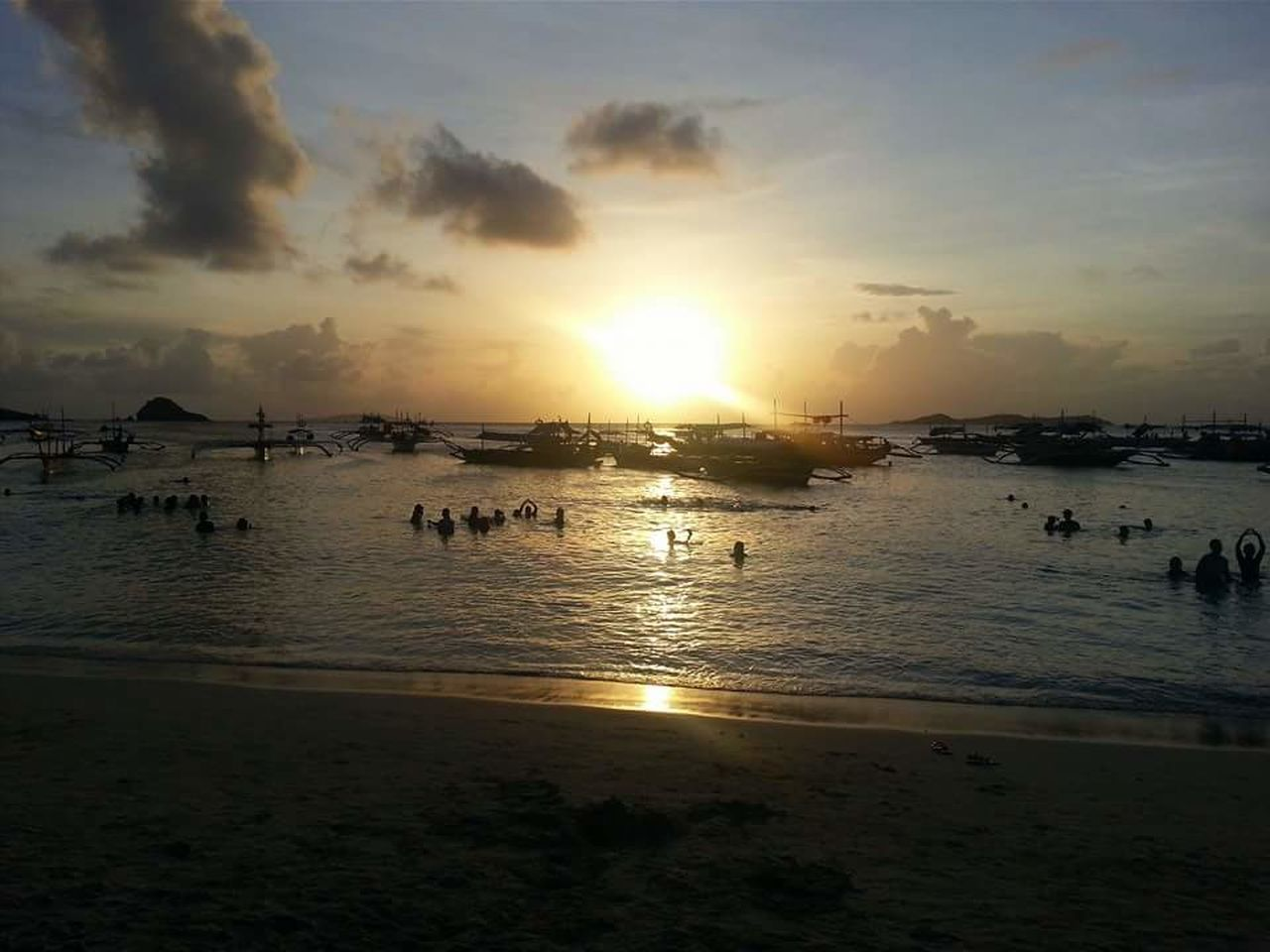 Beach Sea Sunset Vacations Silhouette Nature Beauty In Nature Reflection Sky Sand Summer Horizon Over Water Tranquility Travel Destinations Calaguas Camarinesnorte Philippines EyeEmNewHere