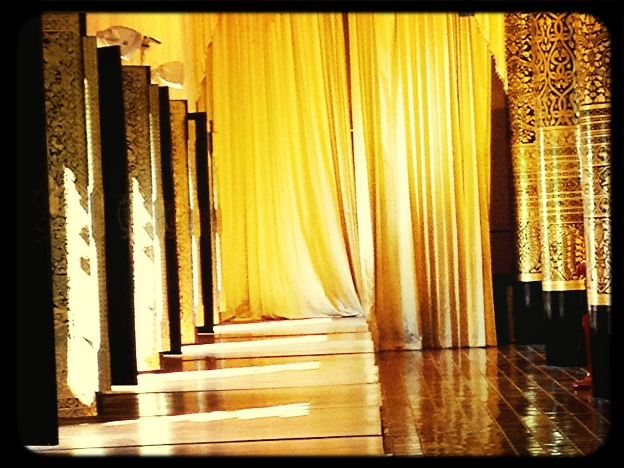 curtain, drapes, indoors, no people, night, illuminated, close-up