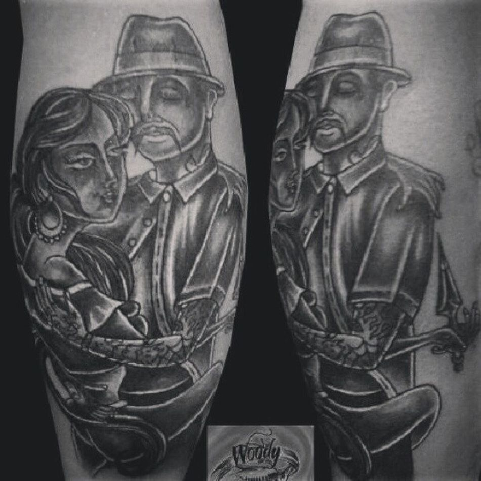 Done by nathalia shelly @woodytattoostudio Oldschool Oldschooltattoo Blackngrey Blackngreytattoo man woman legpiece instapic photooftheday