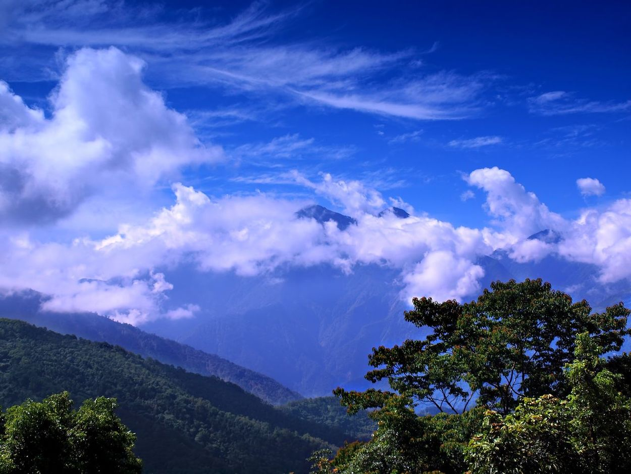 A view of the Central Mountains in Taiwan with stark clouds and deep blue sky Alpine Blue Cloudy Peaks Dramatic Sky Mountain Mountain Peak Mountain Range Nantou,Taiwan Sky Taiwan Mountains Tree