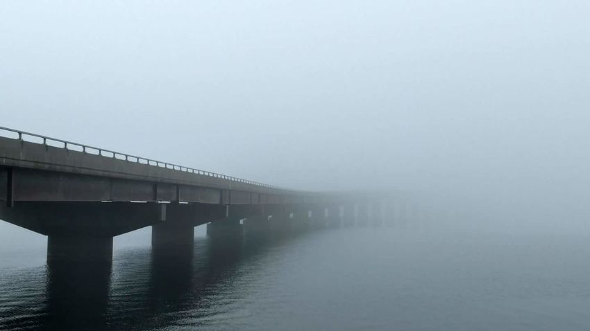 Fog and a bridge. Taken from the Vermont side of Lake Champlain looking into New York. Bridge - Man Made Structure Connection Fog Outdoors Built Structure No People Water Nature Day Scenics Architecture Beauty In Nature Sky
