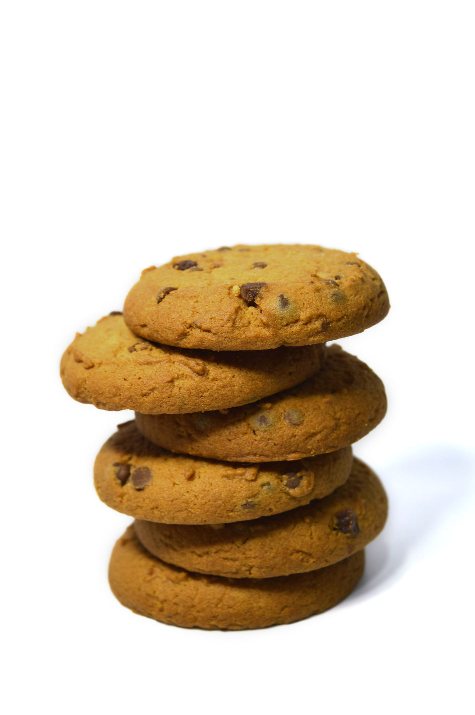 Chocolate chips cookies isolated on white Bake Balance Biscuit Breakfast Brown Calories Close-up Cookie Cookies Delicious Dessert Food Food And Drink Fresh Freshness Handmade Heap No People Snack Stack Studio Shot Sweet Food Temptation White Background