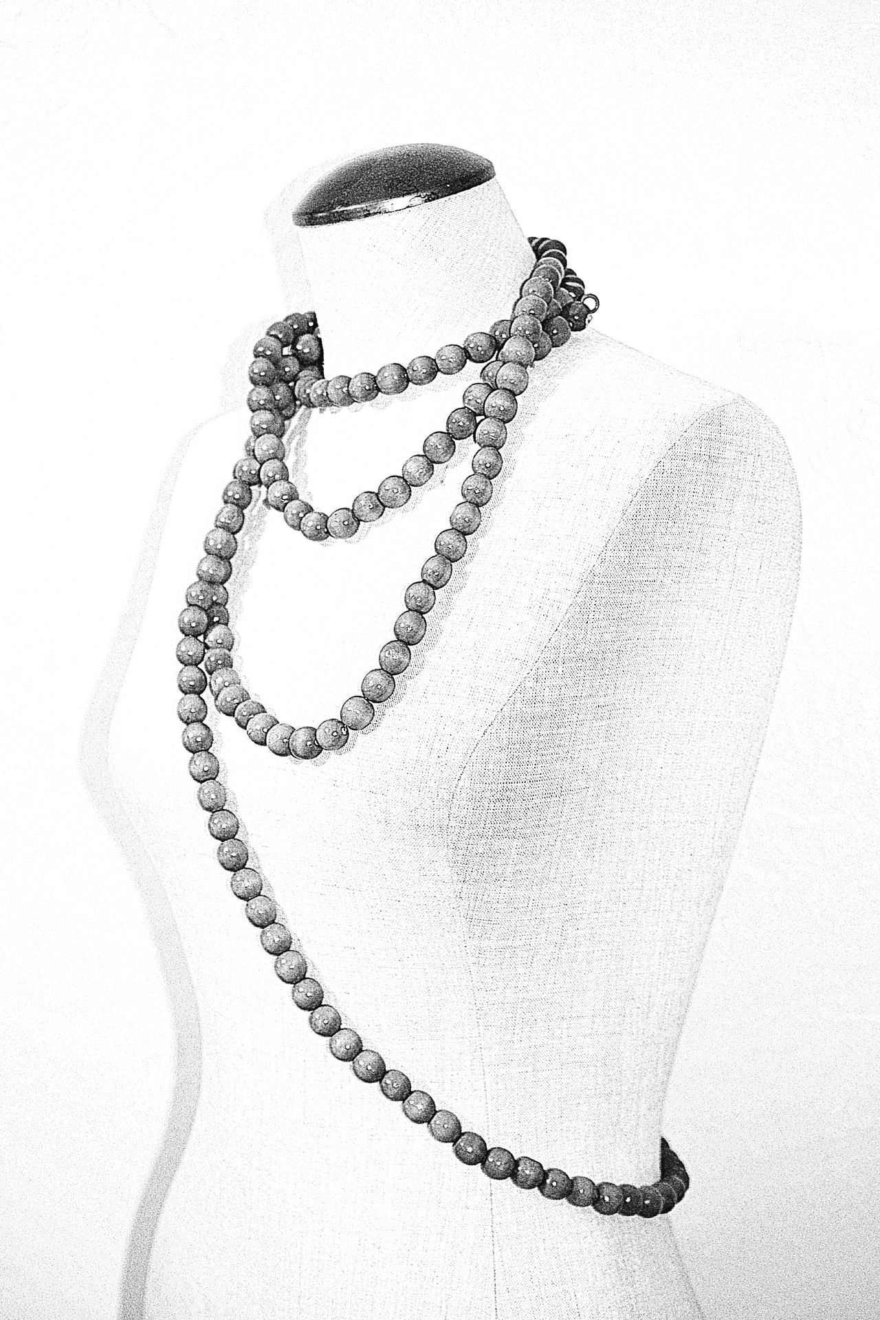 White Album Human Representation Minimalism Simplicity Human Form Fashion Accesories Fashion B&w Black And White Beads Dress Form Beads On A String