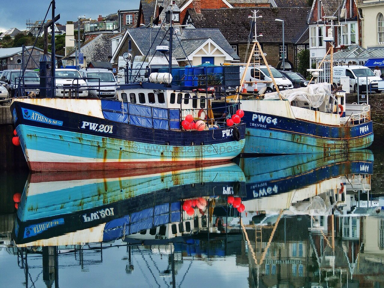 Nautical Vessel Harbor Water Fishing Boat Reflections In The Water Harbor English Coastline