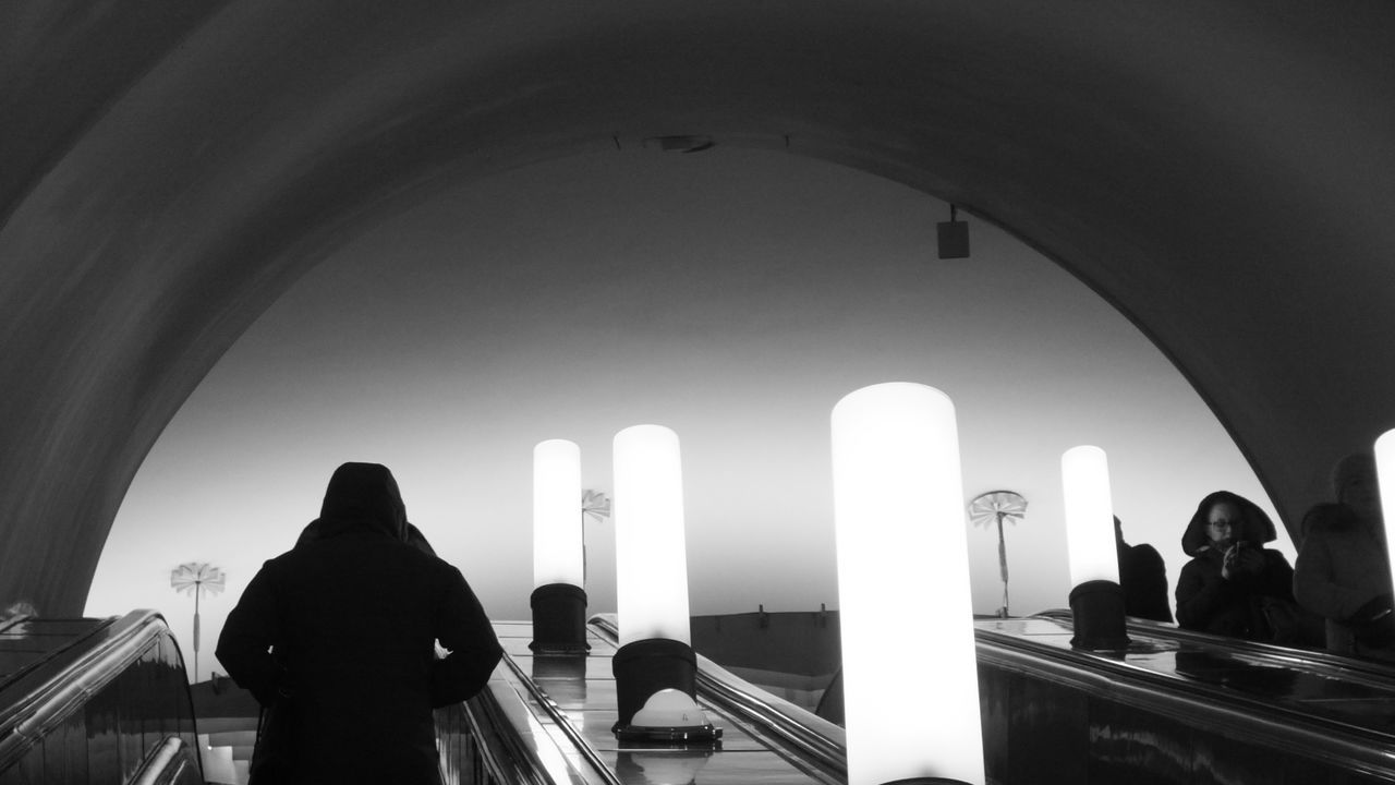 City Black & White Catacombs Lamp Light Moscow Subway To The Light