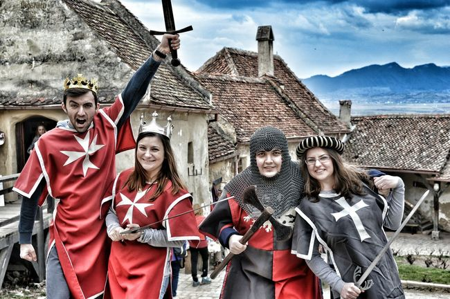 People And Places we've went back in time Mask - Disguise Mountain Medieval Fashion Medieval Knight Knight  Back In Time Castle Rasnovului Castle Knights And Queens