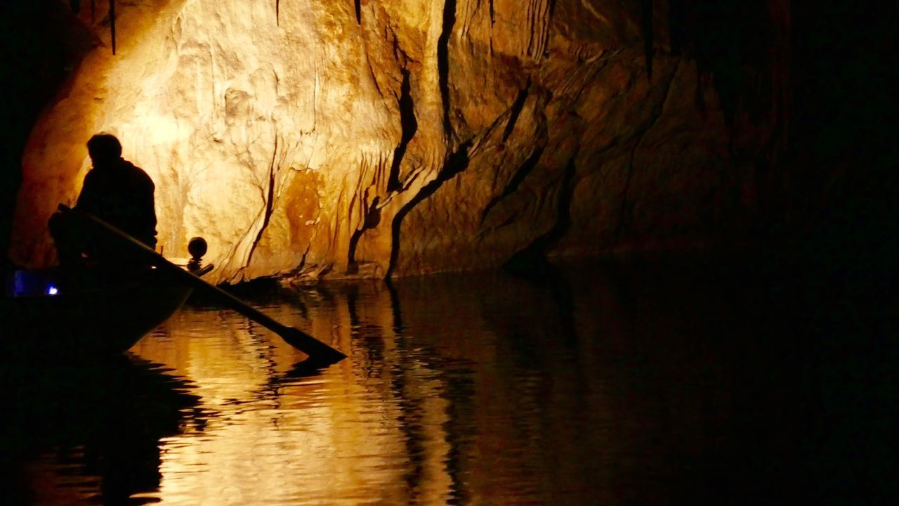 Unknown Journey Silhouette Boat Rower Water Caveman Cave Reflection Light In Darkness Illuminated One Person Nautical Vessel People Men Real People The Unknown Light And Shadow Cuevas Del Drach Mallorca