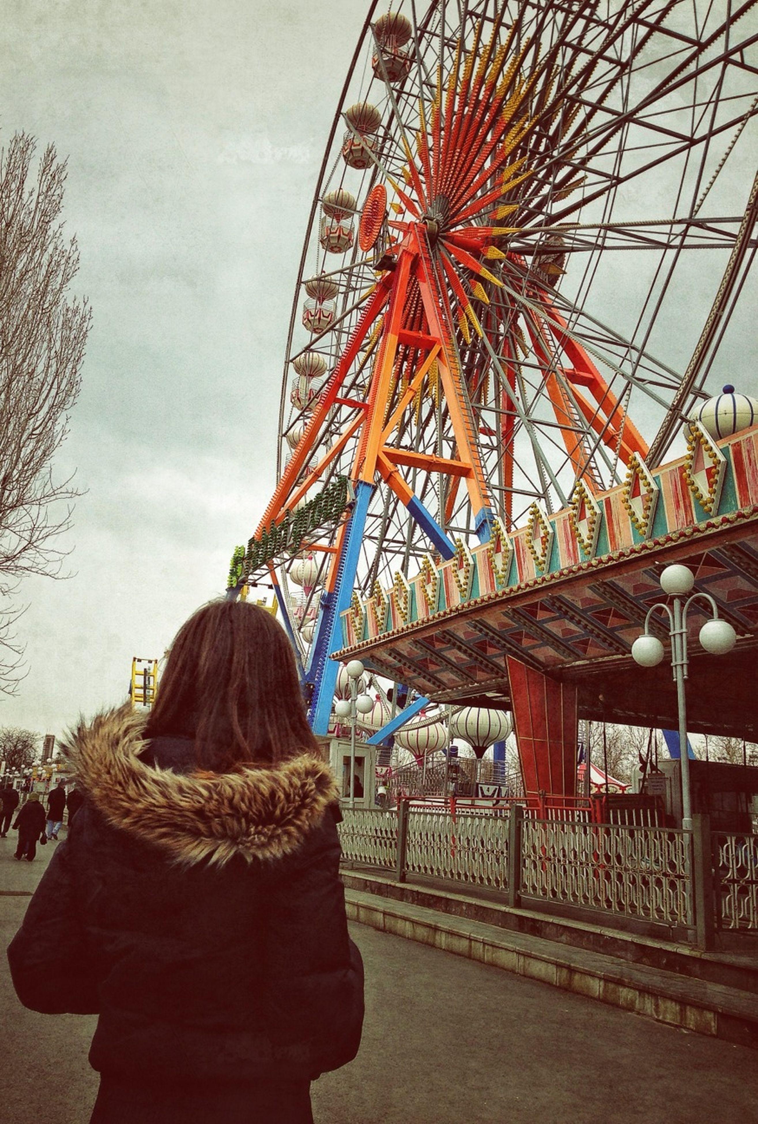 sky, leisure activity, lifestyles, amusement park, arts culture and entertainment, amusement park ride, person, rear view, cloud - sky, men, ferris wheel, built structure, architecture, standing, casual clothing, enjoyment, fun, low angle view