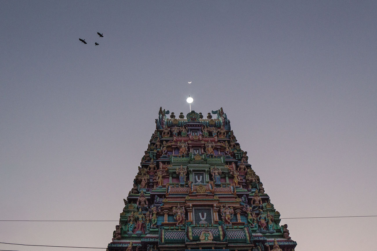 Moon over Sri Kaali Amman Temple in Downtown Yangon. Architecture Birds Burma Crescent Moon Hindu Temple Hinduism Horizontal Kaali Moon Myanmar Night No People Outdoors Sky Sunset Temple Travel Destinations Yangon