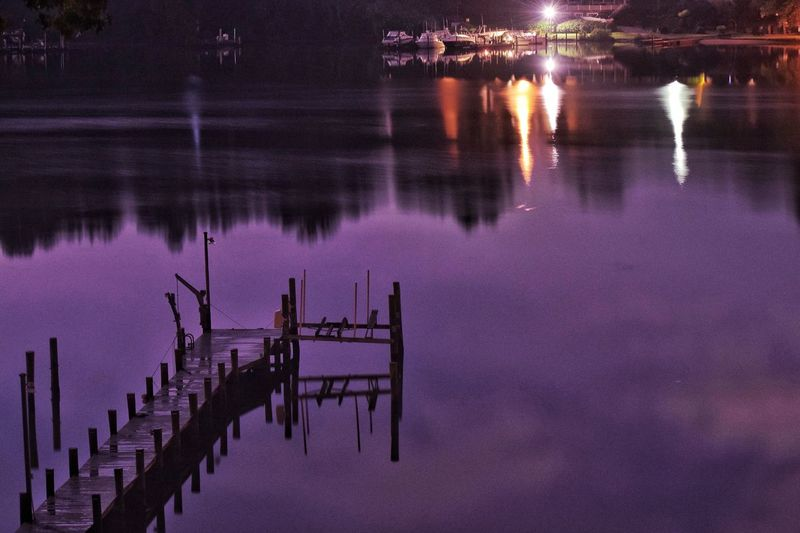 Reflection Water Nature Outdoors Night Lake Waterfront Tranquility Beauty In Nature Scenics Illuminated Cold Temperature No People Sky Summer Dock River Sommergefühle
