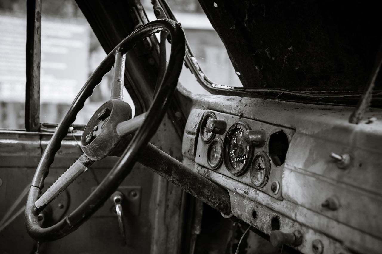 mode of transport, transportation, metal, steering wheel, rusty, close-up, abandoned, day, no people, old-fashioned, nautical vessel, outdoors