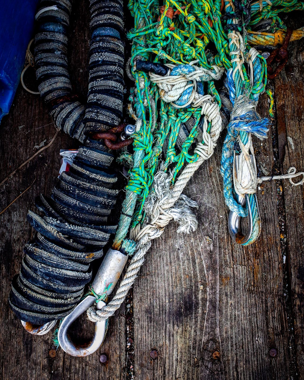 Fishing Tools of the Trade. Cable Cape Cod Complexity Dock Documentary Fish Nets Full Frame Green Color Growth High Angle View Intricacy Large Group Of Objects Old Weathered