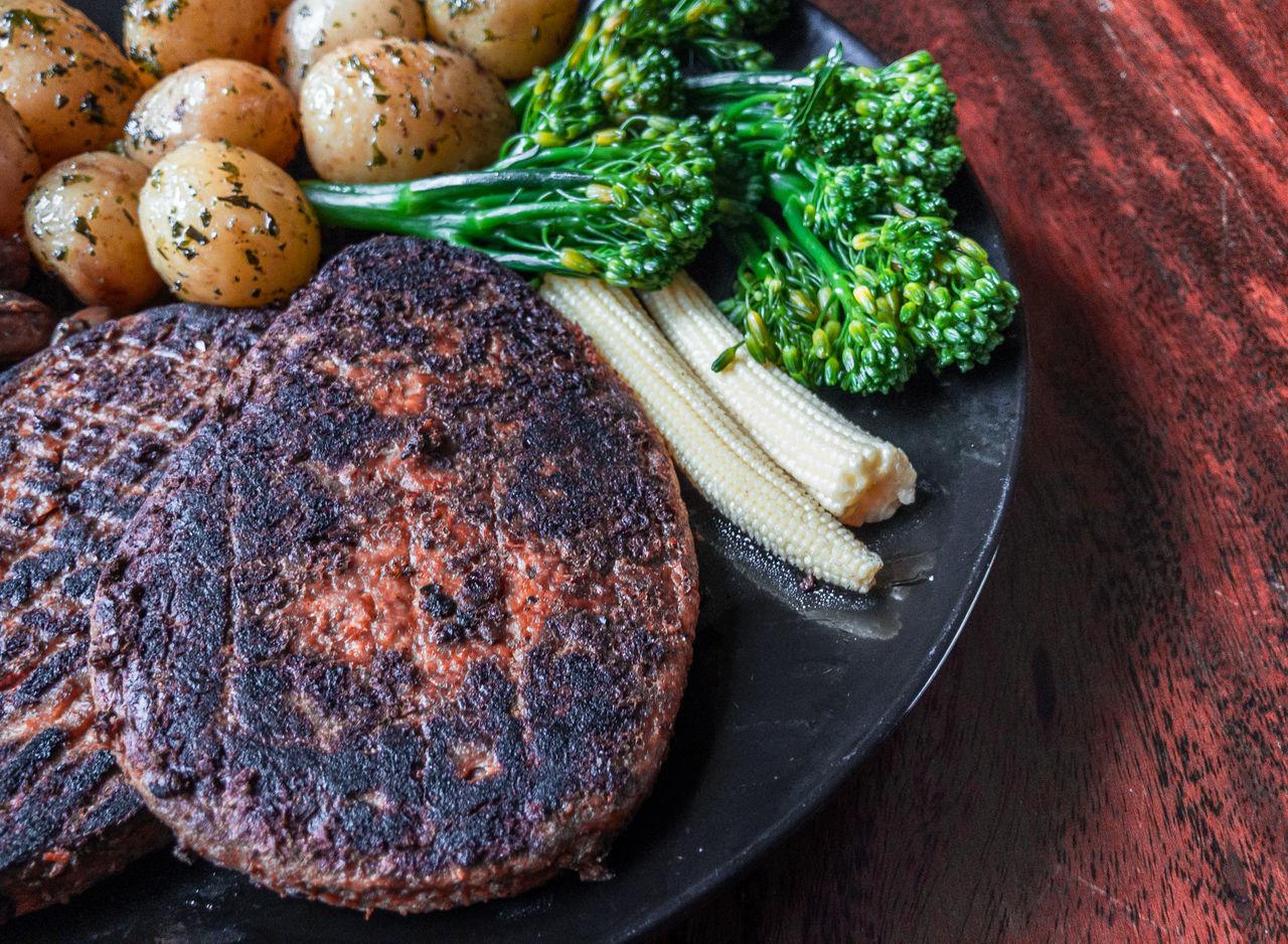 Broccoli Corn Food Freshness Green Healthy Eating Mushroom No People Pepper Plate Potatoes Quorn Quorn Steak Roast Roasted Rustic Salt Table Vegetable Wood