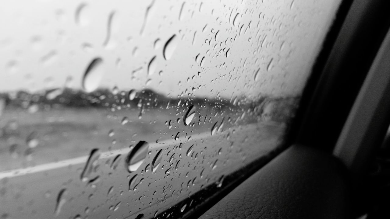 water, window, drop, glass - material, wet, indoors, rain, no people, close-up, text, land vehicle, raindrop, car, focus on foreground, car interior, day