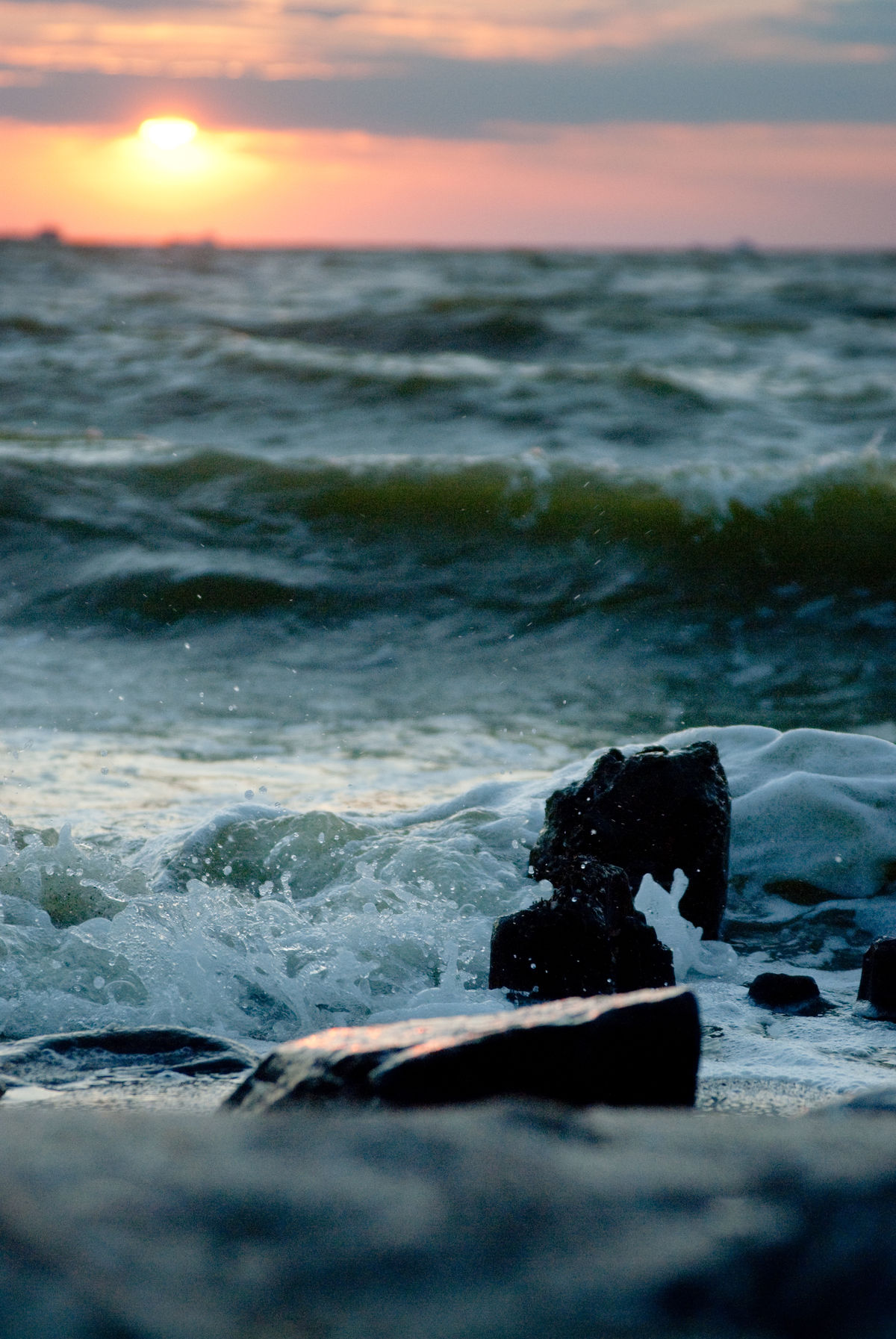 Azov Sea Beach Beating Waves Beauty In Nature Close-up Day Horizon Over Water Nature No People Outdoors River Scenics Sea Sky Stone Sunset The Beat Of Waves Water Wave White Foam