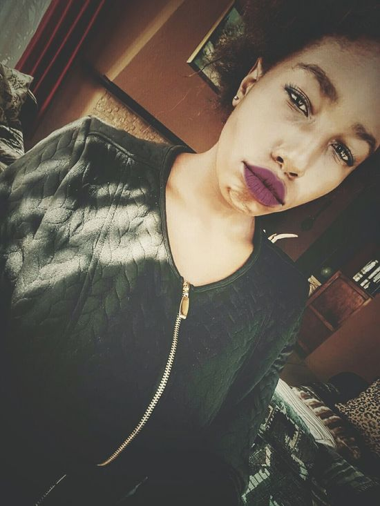Purple lipstick ❤ Lipstick Androidography Thickness Blackgirl Blackgirlsrock That's Me Johannesburg Home Check This Out Taking Photos Loved African Swirl Swirler ONFLEEK Proudly South African ♥ Eyebrows South Africa SouthAfrican Cheekbones Pretty Happy Android Love Natural Hair
