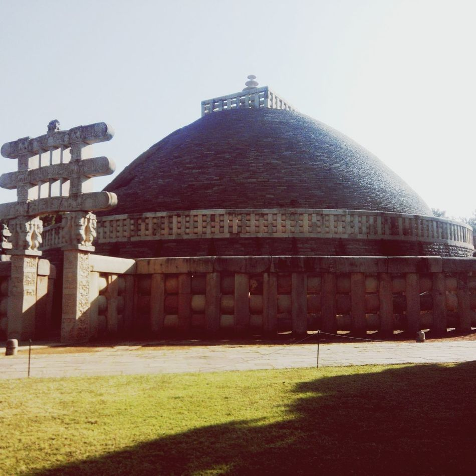 The Stupa of Sanchi.. One of the historical monuments preserved by the archaeological survey of India.. It was erected by Emperor Asoka to promote Buddhism. Buddha Stupa Historical Building Check This Out