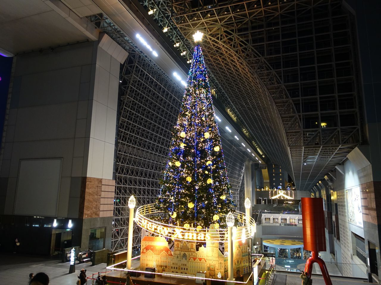 Christmas Lights Illumination Japan Kyotostation Night