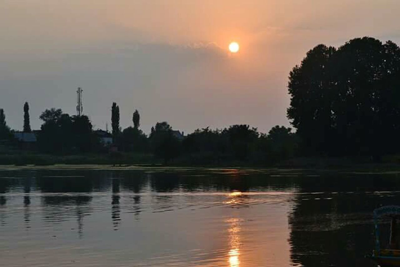 Srinagar Kashmir Evening Light Water Sun Reflection Sunset Tranquil Scene Tranquility Tree Scenics Waterfront Lake Silhouette Beauty In Nature Cloud Calm Orange Color Nature Sky Majestic Non-urban Scene No People