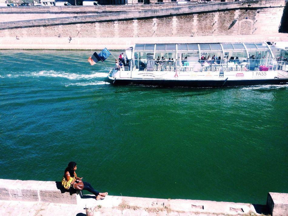 Paris you were lovely. Hello World Taking Photos La Seine Girl Boat Water River City Tourist Tour