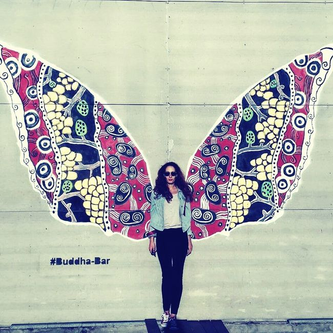 Me, Butterfly, streetart, Tbilisi, wings, girl Wall - Building Feature Full Length Art Front View Lifestyles Leisure Activity Creativity Multi Colored Standing Outdoors Young Adult Culture First Eyeem Photo