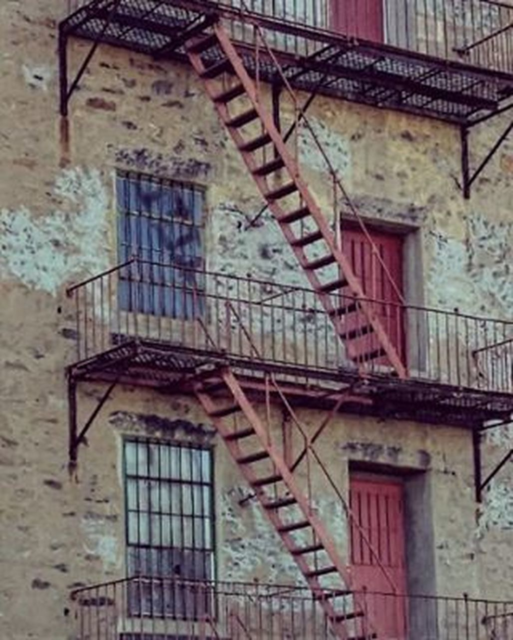 architecture, building exterior, built structure, staircase, window, day, abandoned, no people, fire escape, outdoors, close-up
