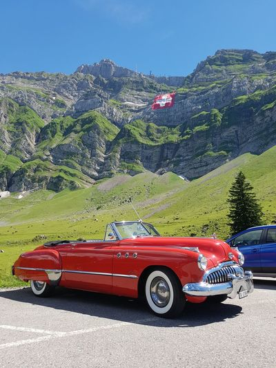 Buick Super 8 (1949) 1940s Buick 8 Buick Super Car Classic Car Day Driving Mountain No People Oldtimer Outdoors Red Road Schwägalp Switzerland Säntis The Drive Transportation V8 EyeEm Best Shots EyeEm