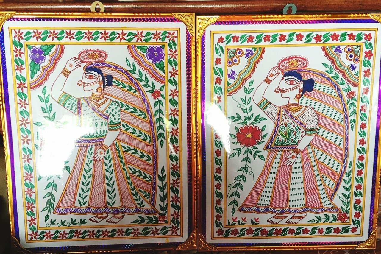 MithilaPainting by my mother. Creativity Culture for Marriage Ceremony Art