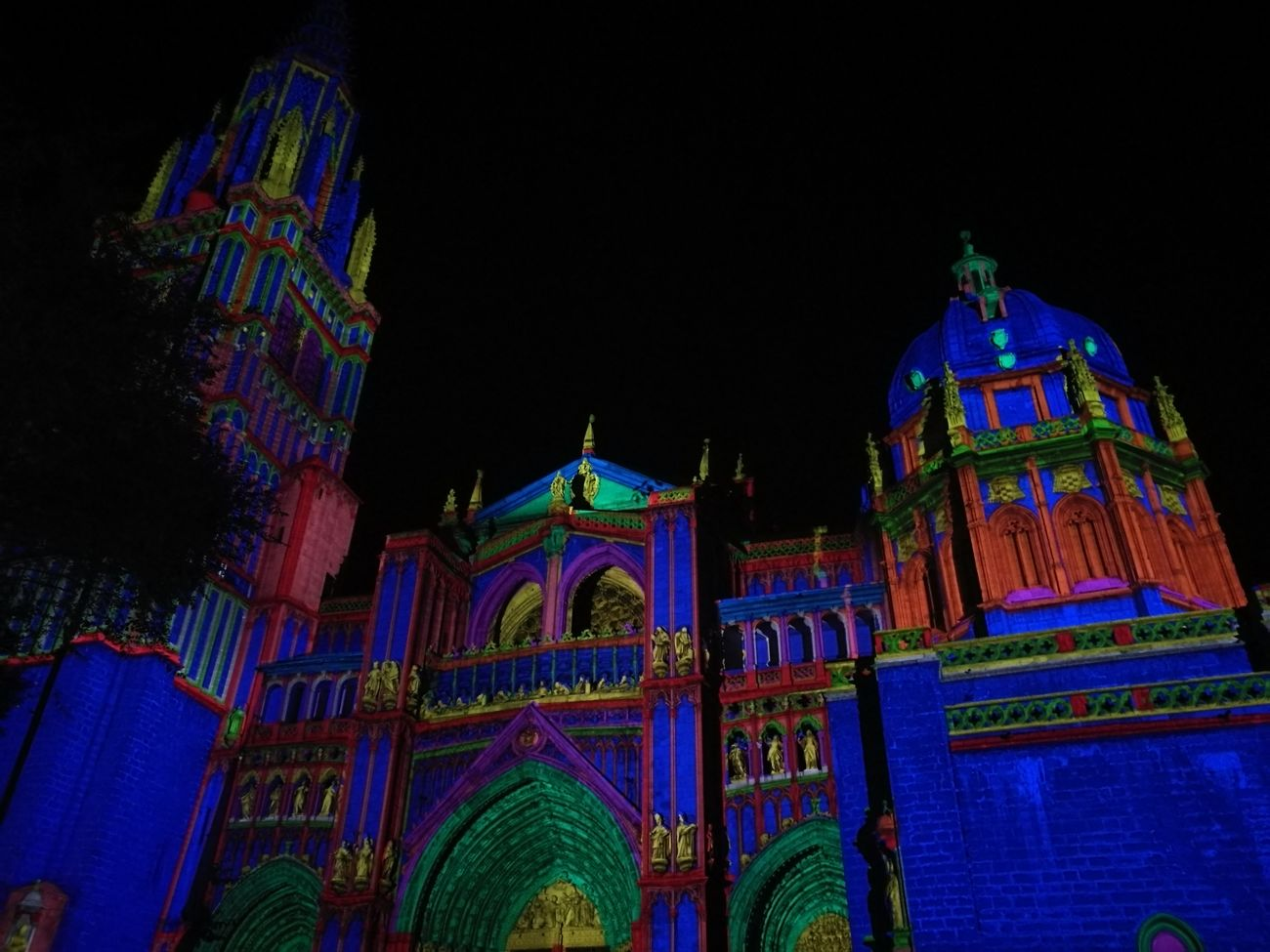 Night Lights Toledo CastillaLaMancha SPAIN Cathedral Blue Red Yellow Green