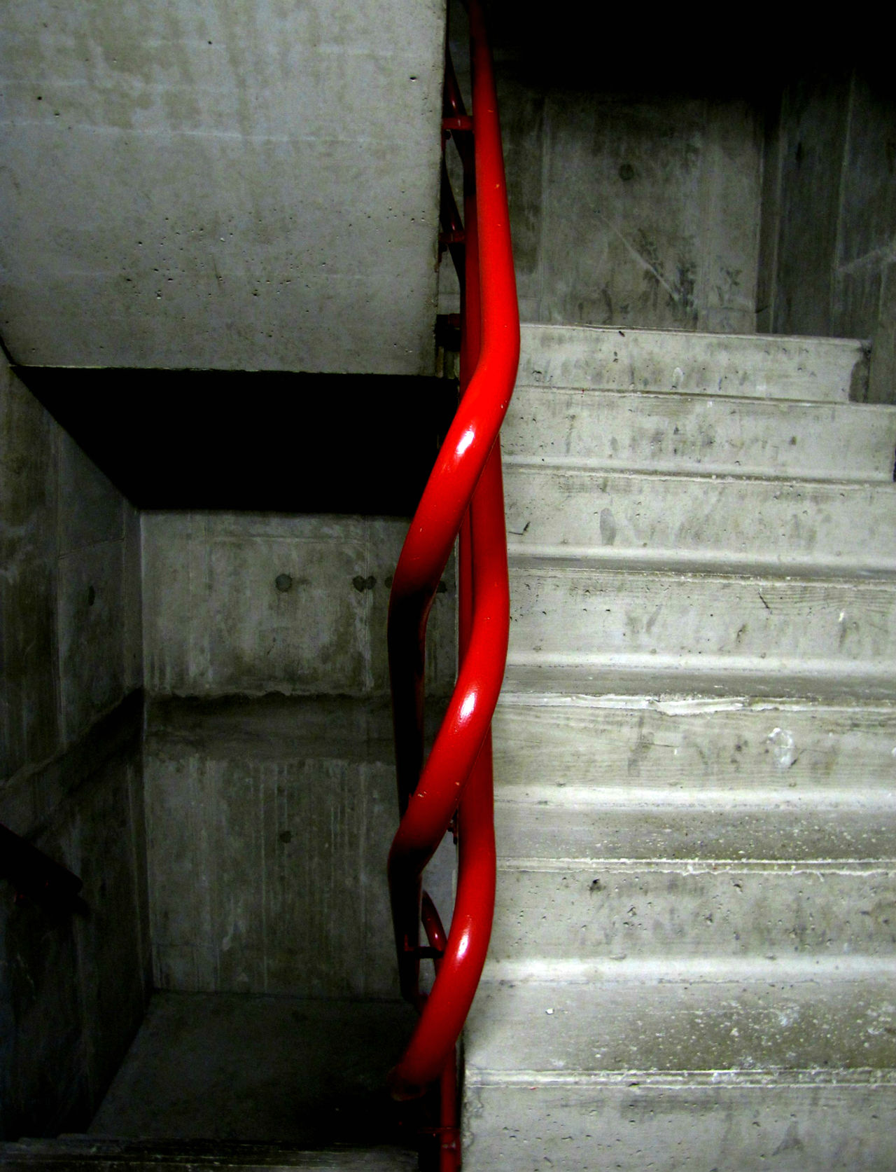 Close-up Dark Empty Indoors  Industry Minimal No People Pipe - Tube Red Red Staircase Stairs Stairways Steps