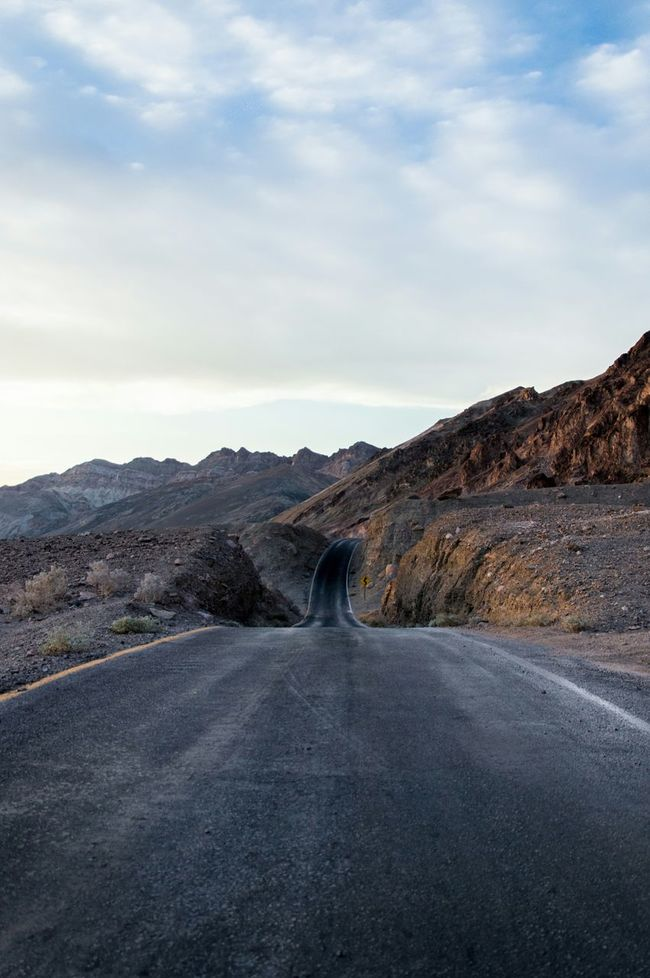 Hunting the sundown while driving the Artists Palette Drive in the Death Valley California USA Travel Holiday POV Ontheroad Freedom