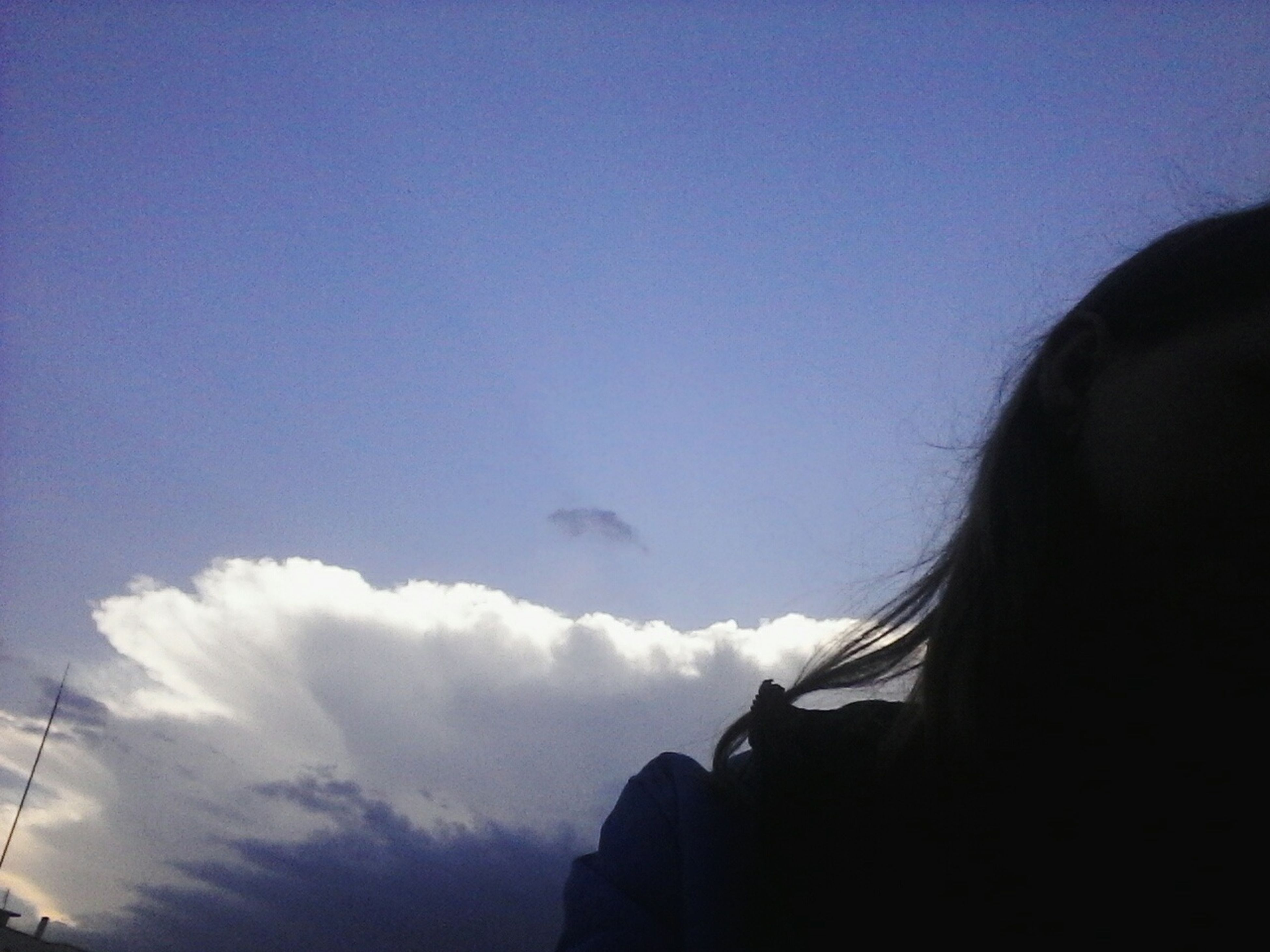 sky, blue, silhouette, copy space, beauty in nature, scenics, tranquil scene, nature, low angle view, tranquility, clear sky, cloud, cloud - sky, outdoors, mountain, day, idyllic, dusk