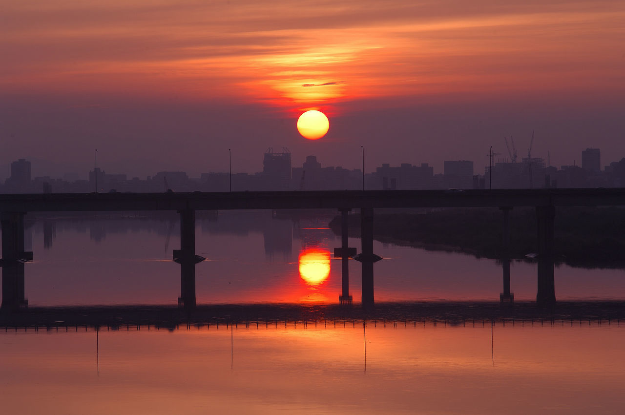 Atmosphere Beauty In Nature Blank Bridge Building Lake Landscape Light Morning Nature No People Orange Color Outdoors Reflection Scenics Silhouette Sky Sun Sunset Taiwan Tranquility Water