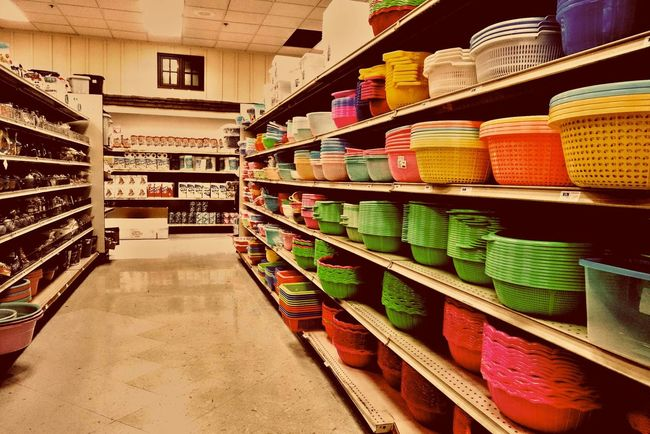 Supermarket Shelves Bowls Washing Bowls Washing Basket Multicolors  Colorful Bright Home Goods Household Objects