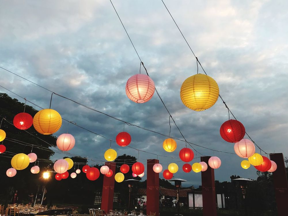 Hanging Lighting Equipment Decoration Illuminated Sky In A Row Low Angle View Lantern Electricity  Chinese Lantern Cloud - Sky Outdoors Celebration