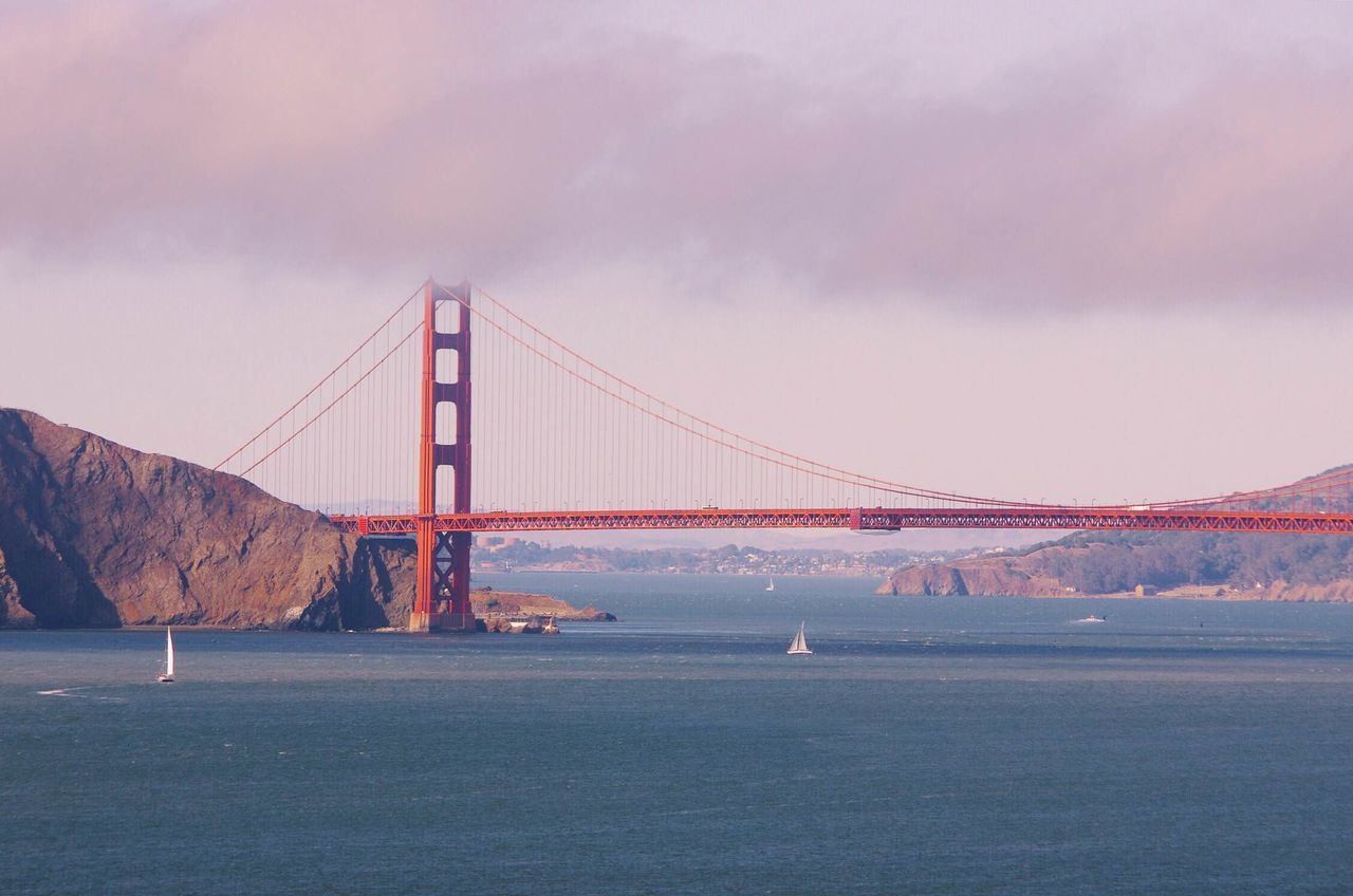 Architecture Boats Bridge Pastel Power Built Structure California Cars Clouds Column Connection Development Distant Engineering Golden Golden Hour International Landmark Long Pier Railing River Rock SUPPORT Suspension Bridge Water Waterfront