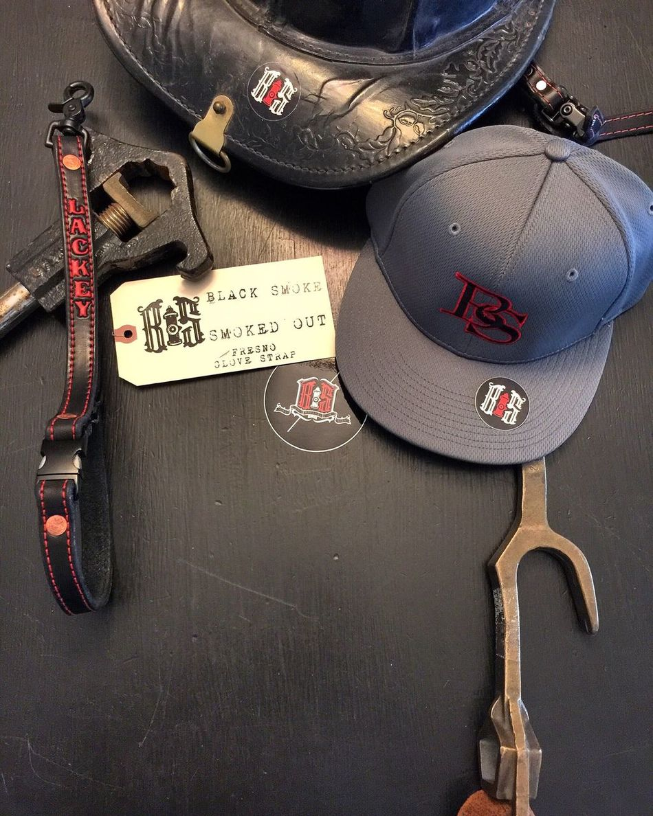 BS FlexFit Smoked Out Hat from Black Smoke Apparel and our number one seller the Fresno Glove Strap from the inventors, Black Smoke Apparel. Read the story on how Black Smoke Apparel invented the Fresno Glove Strap at www.blacksmokeapparel.com Customize yours today! This Fresno Glove Strap has Red stitch and Red paint and our number one seller Smoked Out Hardware. Leather from Black Smoke Apparel is Designed by, Tested by, Approved by, and Made by Firefighters. Stay Safe and Stay Below The Smoke ™ .... Firefighter FF Brotherhood Fitted Radio Strap Black Smoke Apparel Black Smoke Firefighter Swag Smoke Showing Fire Fresno  Fresno Glove Strap