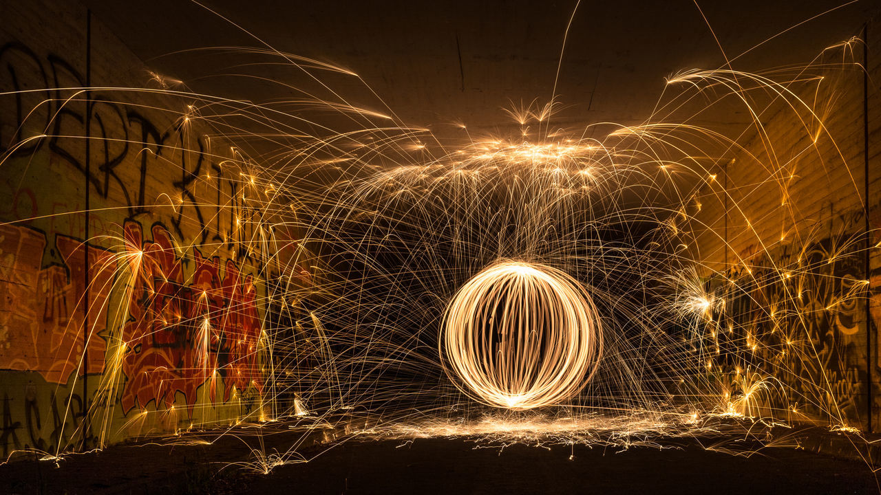 Fire in the tunnel Action Awesome Circle Exploding EyeEm Masterclass Firework - Man Made Object Glowing Light Light Painting Long Exposure Night Nightphotography Outdoors Playing With Fire Sparks Spinning Steelwool Steelwoolphotography Taking Photos Wire Wool