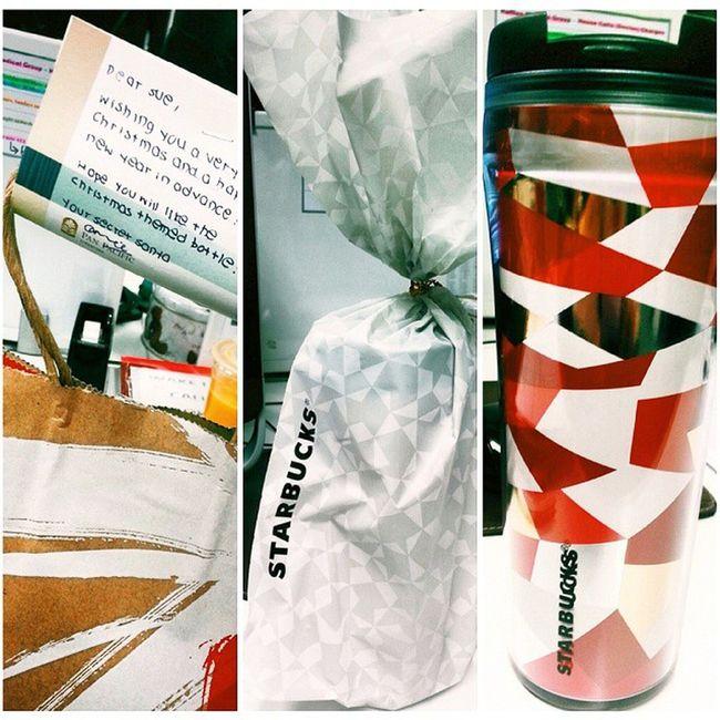 Thank you Santarina! I super heart the gift la! So ME. Instapic Instaxmas Xmasgift Giftexchange ig christmas instamood abstract superlike starbucks