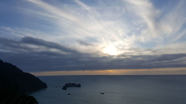The sunset over knights point on the west coast in Nz :) Horizon Over Water Water Sea Tranquil Scene Scenics Tranquility Beauty In Nature Waterfront Sky Calm Cloud Nature Idyllic Cloud - Sky Ocean Seascape Outdoors Day Cloudy Sunset Orange Cliff Edge Sillouettes