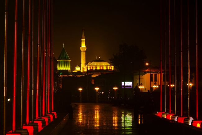 Museum City Love EyeEm Best Edits Mevlana Mosque Beauty In Nature Outline Eye4photography  EyeEm Nature Lover That's Me Beutiful  Dramatic Night Night Lights Beutiful  No People Dark Building Exterior Religion Place Of Worship Outdoors Red Long Built Structure Spirituality