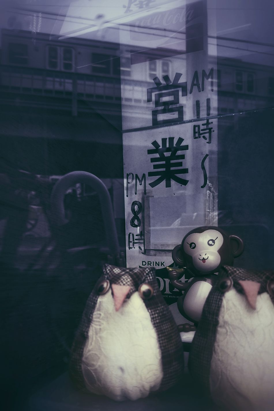Toy Monkey Owls Soft Toys TOWNSCAPE Window Display Reflection Snapshot From My Point Of View Capture The Moment Lights And Shadows Multiple Layers Learn & Shoot: Layering Streetphotography Reflection_collection EyeEm Best Shots EyeEm Best Edits 日常 日常的風景 町の風景