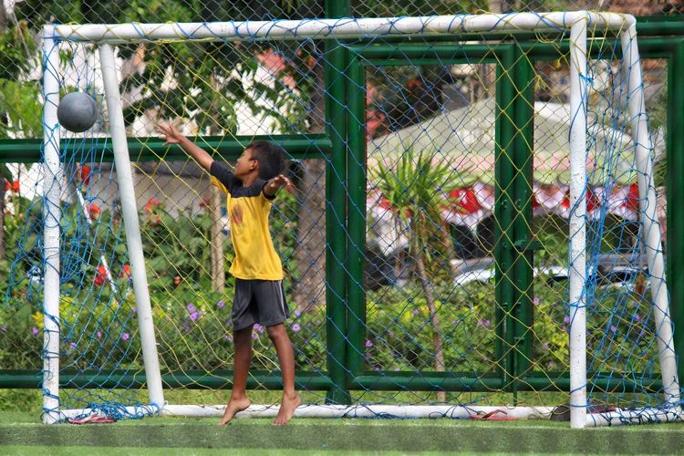 The Color Of Sport Children Child Playing Football Keeper