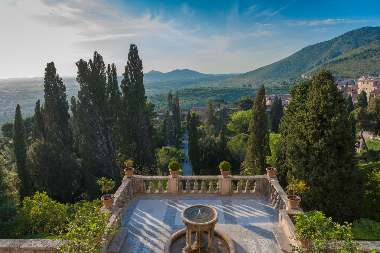 The amazing garden of Villa d'Este in Tivoli. Ancient Ancient Architecture Architecture Day Fountain Garden Garden Photography Historic Italia Italy Landscape Mountain Nature Outdoors Outlook Overlook Overlooking View Scenics Sky Sky And Clouds Terrace Tivoli Tree Trees Water